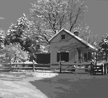 Landis Valley Tin Shop Winter B&W Paint by purplefoxphoto