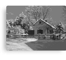 Landis Valley Tin Shop Winter B&W Paint Canvas Print