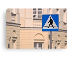 Pedestrian crossing sign. Canvas Print