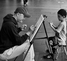 Painter and Child 1 by Andrew  Makowiecki