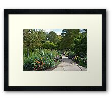 A Path Into a Colorful Flower Garden Framed Print