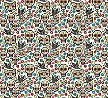 The seamless pattern of Day of the Dead by Olga Matskevich