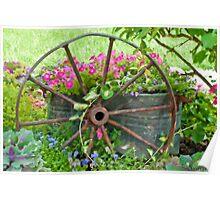 Vintage Wheel Garden Scene - Digital Oil  Poster