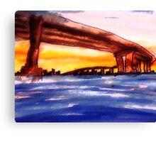 Corando Bridge in San  Diego #2, watercolor Canvas Print