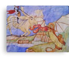 The Girl on the Flying Moose Canvas Print