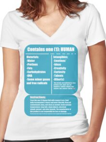 Human (blue) Women's Fitted V-Neck T-Shirt