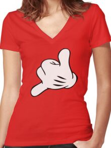 Funny Surf fingers - Shaka hand Women's Fitted V-Neck T-Shirt