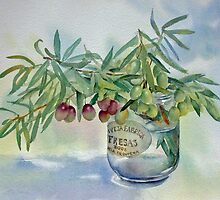 Olive branches in a jar by Ann Mortimer