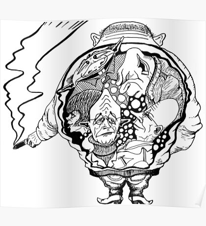 Leader surreal black and white pen ink drawing Poster