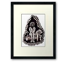 Bacchus God of Wine black and white pen ink drawing Framed Print