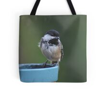 Chickadee perched on the edge of a flower pot Tote Bag