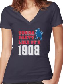 Chicago Cubs - Gonna Party like it's 1908 Women's Fitted V-Neck T-Shirt