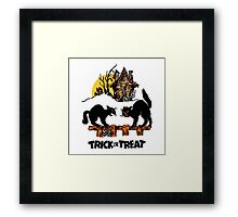 Vintage Halloween Black Cats Trick or Treat  Framed Print