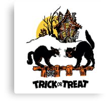 Vintage Halloween Black Cats Trick or Treat  Canvas Print