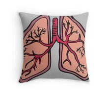Funny cartoon lungs - Respiratory system Throw Pillow