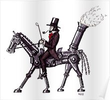 Steam Metal Horse surreal black and white pen ink drawing  Poster