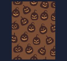 Funny and Scary Brown Halloween Pumpkins Pattern One Piece - Short Sleeve