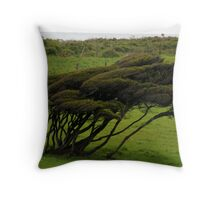Wind-blown Trees Throw Pillow
