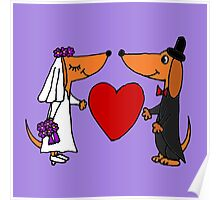 Awesome Bride and Groom Dachshund Dogs Poster