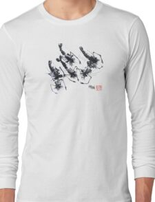 Sumi-e Shrimps represent Abundance! Long Sleeve T-Shirt