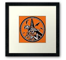 Vintage Halloween Witch and Owl Illustration Poster Framed Print