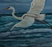 Egret takes, Flight by towncrier