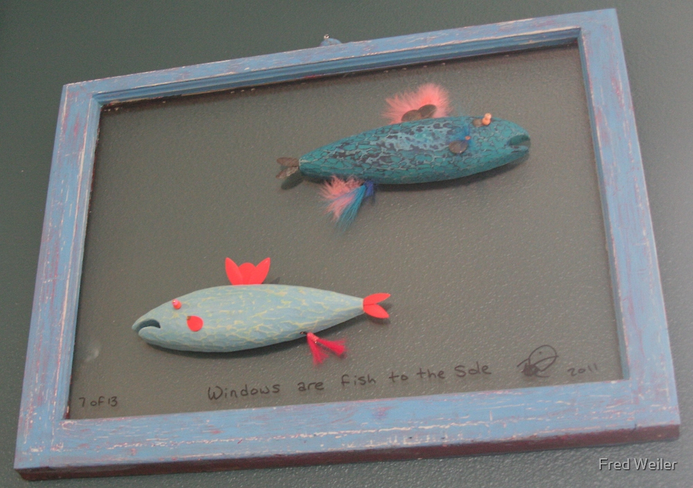 """Windows are fish to the sole 7 of 13. 32"""" x 24""""  $300.00 for original by Fred Weiler"""