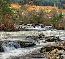 Dochart Falls Panorama by Tom Gomez
