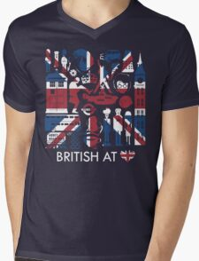 British @ Heart Mens V-Neck T-Shirt
