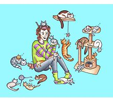 Harry and Cats Photographic Print