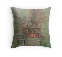 European Castle House Throw Pillow