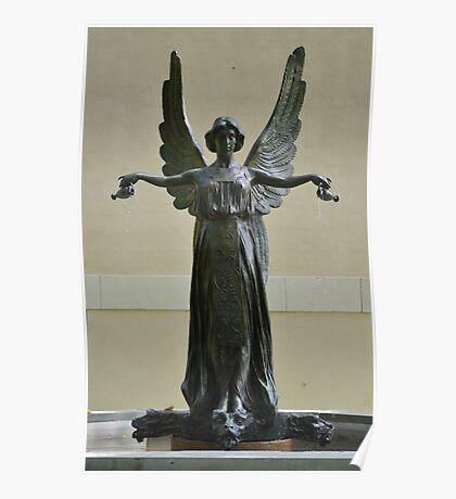 Beautiful Angel Sculpture Fountain Poster