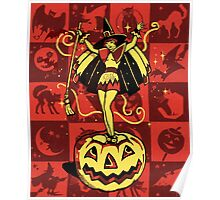 Halloween Witch Girl (vintage) Poster