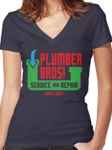 PLUMBER BROS! Women's Fitted V-Neck T-Shirt