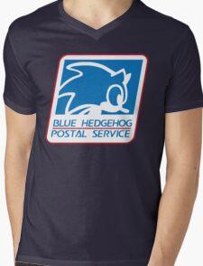 BLUE HEDGEHOG POSTAL SERVICE Mens V-Neck T-Shirt