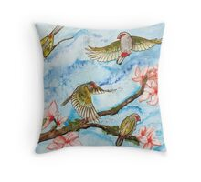 Red Browed Finch  Throw Pillow