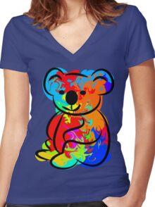 Colorful Koala Women's Fitted V-Neck T-Shirt