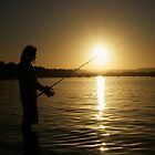 Man Fishing at Sunset by -aimslo-