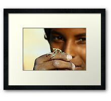 Children with insect Framed Print