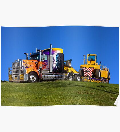 Heavy transport in light bright colour Poster