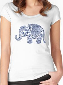 Blue Floral Elephant Illustration Women's Fitted Scoop T-Shirt