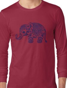 Blue Floral Elephant Illustration Long Sleeve T-Shirt