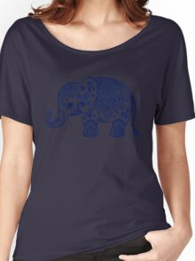 Blue Floral Elephant Illustration Women's Relaxed Fit T-Shirt