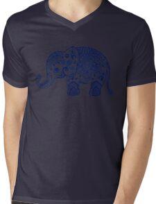 Blue Floral Elephant Illustration Mens V-Neck T-Shirt