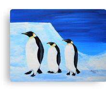 Penguins on ice Canvas Print