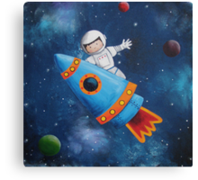 Space Man Acrylic Painting Canvas Print
