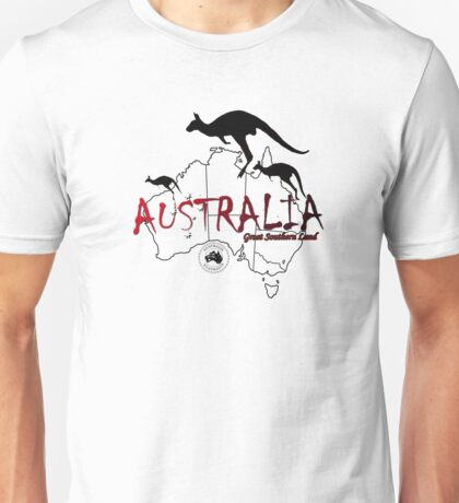 Australia outline and kangaroos silhouette Unisex T-Shirt