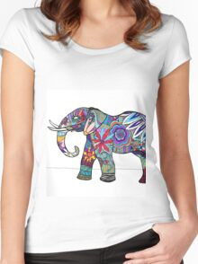 Psychedelic Pachyderm  Women's Fitted Scoop T-Shirt