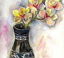 Orchids in black vase by Karin Zeller