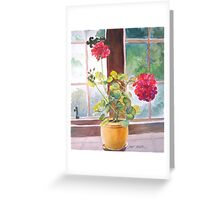 Watercolor, Geraniums at Gillthwaite Rigg, Windermere Greeting Card